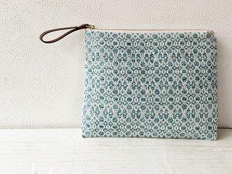 [再販]pouch[手織り小さめポーチ]エメラルドグリーンの画像