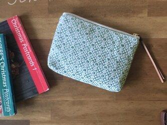 pouch[手織りミニポーチ]エメラルドグリーンの画像