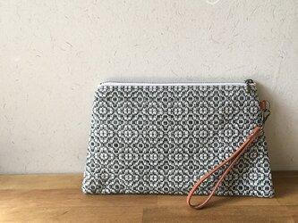 pouch[手織り台形ポーチ] フォレストグリーンの画像