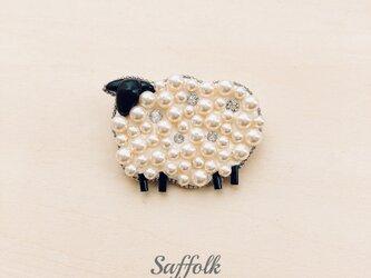 羊のブローチ〈ホワイト〉の画像