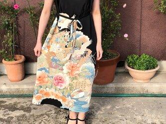 アンティーク留袖鶴貝合わせ金糸刺繍豪華ノースリーブワンピースMの画像