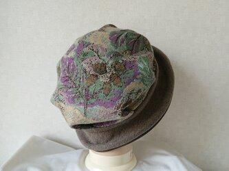 魅せる帽子☆スエードとウールニットのリバーシブルクロッシュ~ブラウンの画像