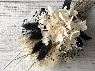 星月猫★「ホワイトアナベルとブラックラグラスのモノトーンミニブーケ」ドライフラワー 花束 スワッグの画像