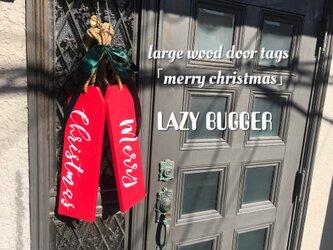 large wood door tags ④「merry christmas」ラージ ウッドドアタグ「メリークリスマス」の画像