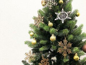 北欧クリスマス!雪結晶のオーナメント8個セット!ウォールナット★送料無料★の画像