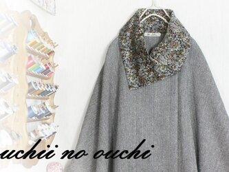 LIBERTYリバティ コーデュロイ&ウール 大き目カラーポンチョ♡の画像
