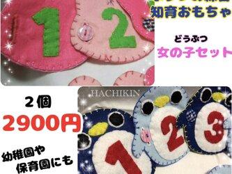 【送料込】新セット☆動物女の子セット☆ボタンと数字の練習の画像