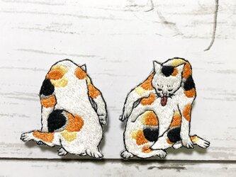 手刺繍浮世絵ブローチ*歌川芳藤「猫尽両めん合」よりの画像