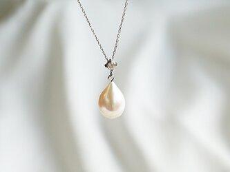 パール ティアドロップ diamond ネックレス K18WGの画像