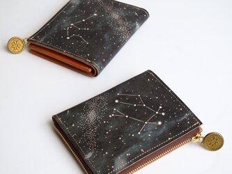 L字ファスナー 財布 (12星座の星空※12デザイン) 本革 コンパクト レディース メンズ LL-1157の画像