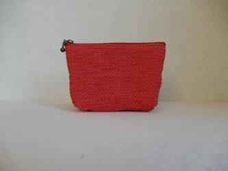 裂き織りのキャンディポーチ 赤の画像