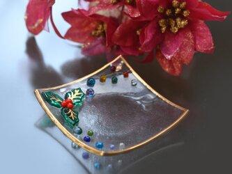 クリスマス ヒイラギの小皿の画像