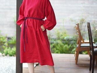 【wafu】中厚 リネン ワンピース ふんわりスリーブ くびれ技法 サイドタック ドレス / レッド a001a-red2の画像