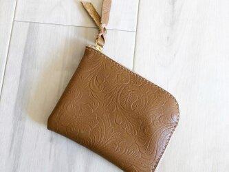シン L字財布 カードケース付き 本革 花柄 ローズ キャメルの画像