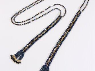 ジグザグ模様のラリエット ブラック・329-2の画像
