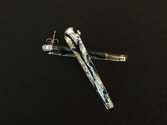 vintage glass pierce(silver/black)の画像