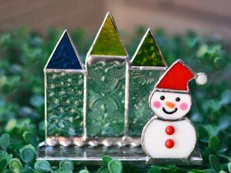 クリアなお家と可愛い雪だるまさん♪ステンドグラスの画像