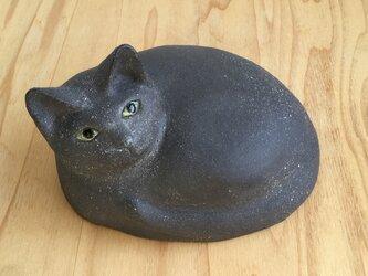 陶器の黒猫の画像