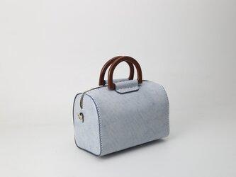 【切線派】木の持ち手 本革手作りの二本手ファスナーボストンミニバッグバッグの画像