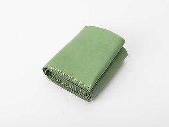 二つ折りミニ財布 牛革手作り小型収納オルガンL字ファスナー財布の画像
