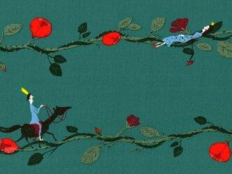 ドイツ オーガニックコットンカットクロス-眠り姫 ティールグリーンの画像