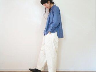 Cotton twill gather shirt BLUEの画像