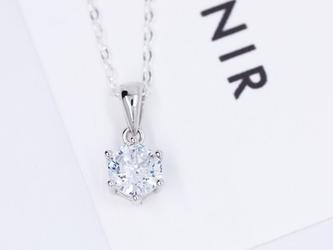送料無料【SV925/CZダイヤモンド】シリウス 一粒ネックレス(40cm)CZダイヤモンドの画像