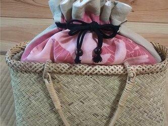 伝統の 岩手二戸 鳥越竹細工 籠バック&巾着袋 茜の画像