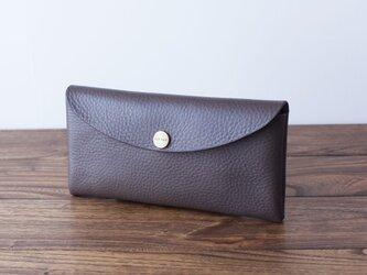 イタリア製牛革のコンパクトな長財布 / グレー※受注製作の画像
