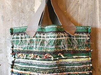 フリンジ裂き織りBag(グリーン)の画像