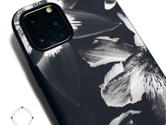 【iPhone13/13pro/12/12pro/12mini/11~】レザーケースカバー(花柄)ブラックフラワー promaxの画像