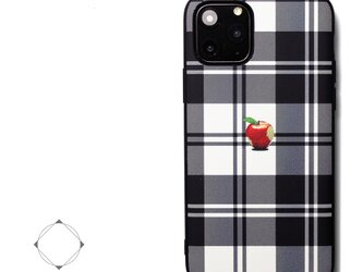 【iPhone13/13pro/12/12pro/12mini/11~】レザーケースカバー(タータンチェック)赤リンゴ アップルの画像