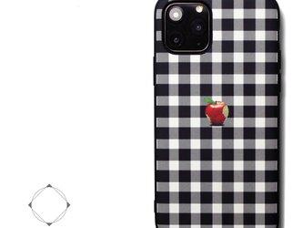 【iPhone13/13pro/12/12pro/12mini/11/11~】レザーケースカバー(シェパードチェック)赤リンゴの画像