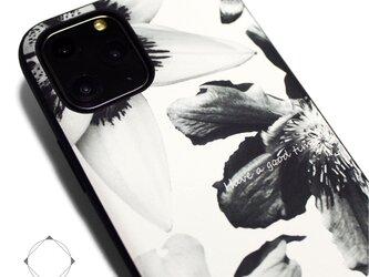 【iPhone13/13pro/13mini/12/12mini/11~】レザーケースカバー(花柄×ブラック)ホワイトフラワーの画像