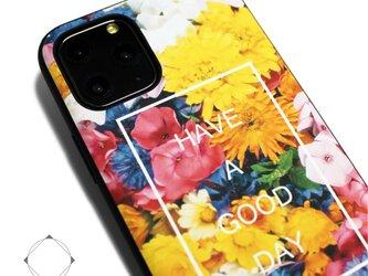 【iPhone13/13pro/12/12pro/12mini/11~】レザーケースカバー(花柄×ブラック)フラワーアートの画像