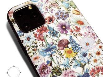【iPhone13/13pro/12/12pro/12mini/11~】レザーケースカバー(花柄×ブラック)ワイルドフラワーの画像
