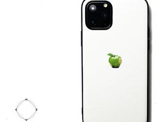 【iPhone13/13pro/12/12pro/12mini/11~】レザーケースカバー(オフホワイト)青リンゴ シンプルの画像