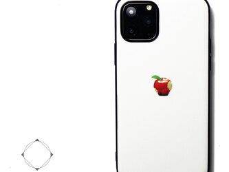 【iPhone13/13pro/12/12pro/12mini/11~】レザーケースカバー(オフホワイト)赤リンゴ シンプルの画像