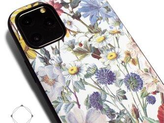 【iPhone13/13pro/12/12pro/12mini/11~】レザーケースカバー(花柄×ブラック)ヴィンテージフラワーの画像