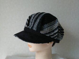 魅せる帽子☆ウールニットとスエードのバイカラーキャスケット~ボーダー&ブラックの画像