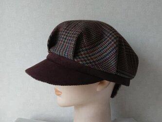 魅せる帽子☆ウールチェックとスエードのバイカラーキャスケット~ボーダー&ブラックの画像