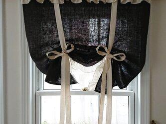 リネンのフリルリボンアップカーテン(黒)の画像