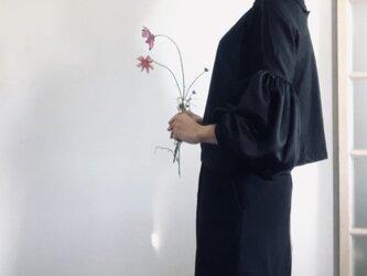 【SALE】スエード調起毛 マットな光沢サテン ボリューム袖ブラウス ブラックの画像