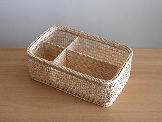四角いバスケット・仕切りのあるかご(生成り)の画像