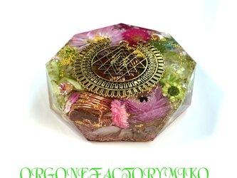 ☆豊かな富をもたらすシュリヤントラ 幸運 恋愛 金運 ポジティブ ケオン 六芒星 幸運メモリーオイル入 コースター型オルゴナイトの画像