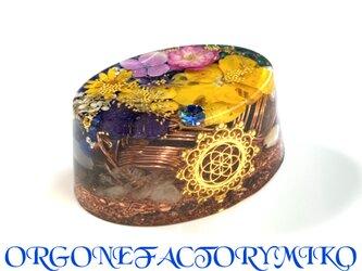 ○希望シードオブライフ 明るさと喜び 幸運 仕事運 癒し 邪気払い ケオン 幸運メモリーオイル入り オーバル型 オルゴナイトの画像