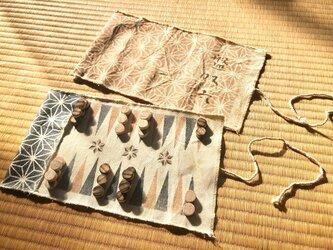 バックギャモン 藍染麻の葉柄の画像