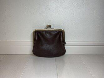 上質牛革  miniがま口財布◆焦げ茶 ポッケなしの画像