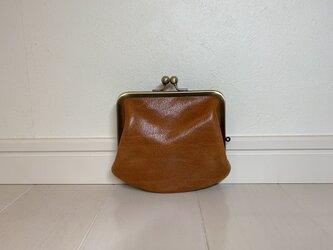 上質牛革  miniがま口財布◆ブラウン ポッケなしの画像