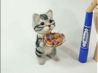 羊毛フェルト 猫 パン好きな アメショーさん アメリカンショートヘア ねこ ネコ の画像